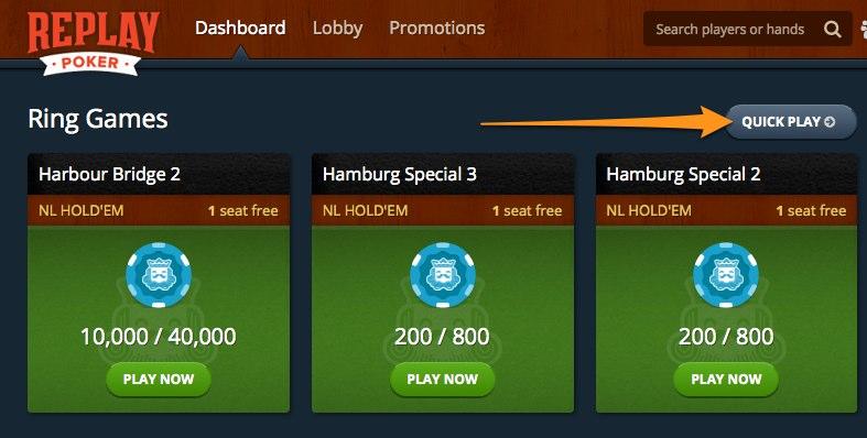 Replay Poker Lobby